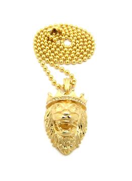 Mens Diamond Cz Crown Lion Of Judah Chain 14k Gold