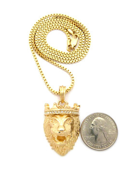 14k Gold Diamond Cz Crown Lion Of Judah Box Chain Pendant