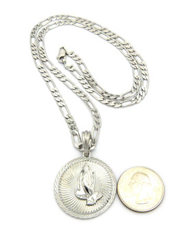 Power Of Prayer Figaro  Chain Pendant Rhodium Silver