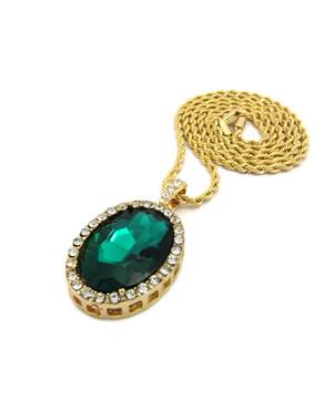 Oval Diamond Cz Gemstone Pendant Gold Rope Chain