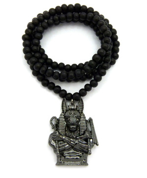 Egyptian God Anpu Anubis Pendant Black Hematite