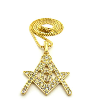 14k Gold Compass and Square Iced Out Mason Pendant