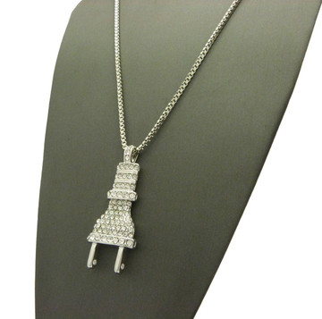 Coke Boys Inspired Iced Out Power Plug Pendant Box Chain Silver