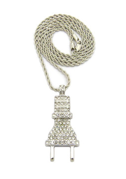 Coke Boys Inspired Iced Out Power Plug Pendant Rope Chain Silver