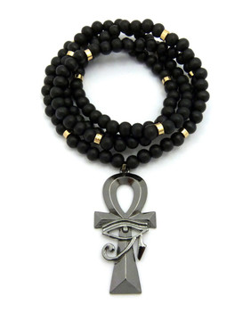 Egyptian Ankh Cross Eye Of Ra Pendant Black Hematite