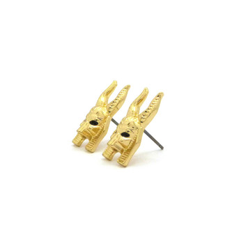 Egyptian God Anibis Hop Hop Earrings Gold