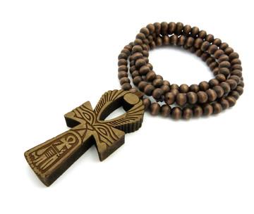 Eye Of Ra Wooden Ankh Cross Pendant Brown