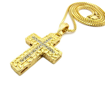 Christ Within Nugget Diamond Cz Cross Pendant Box Chain