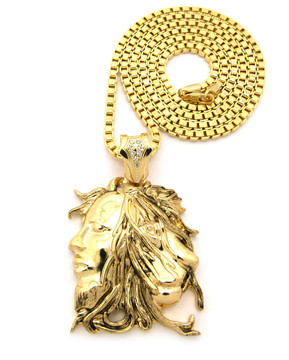 Bob Marley Inspired Lion Head Pendant Chain Necklace Gold