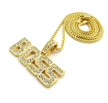 14k Gold Iced Out Diamond Cz BOSS Pendant Box Chain