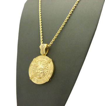Iced Out Medusa Illuminati Medallion Rope Link Chain
