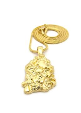 14k Gold Hip Hop Gold Nugget Pendant Snake Link Chain