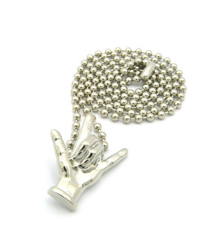 I Love You Hand Sign Language Pendant and Ball Link Chain Silver