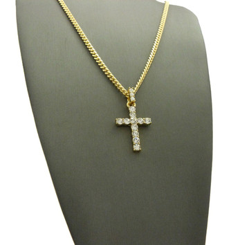 All Stone Iced Out Cross Pendant Cuban Chain Necklace 14k Gold