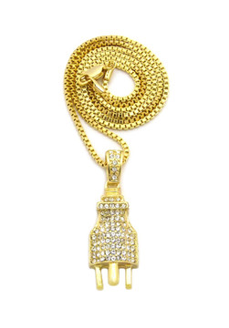 14k Gold Large Bling Electric Energy Power Plug Pendant