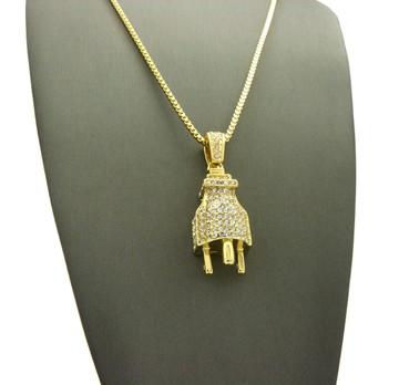 14k Gold Large Bling Electric Energy Power Plug Pendant