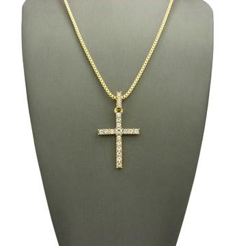 Center Stone 4 Prong All Ice Cross Box Chain Pendant 14k Gold