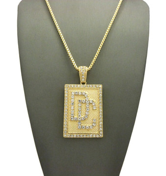 Dream Chasers Diamond Cz Iced Out Box Chain Pendant 14k Gold