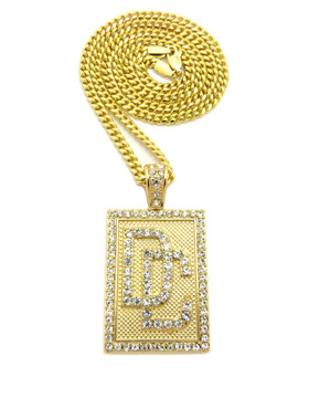 Dream Chasers Diamond Cz Iced Out Cuban Chain Pendant 14k Gold