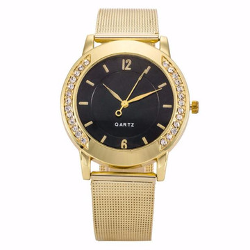 Fashion Ladies Crystal Golden Stainless Steel Bling Watch