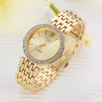 Ladies Simulated Diamond Double Row Watch 14k Gold