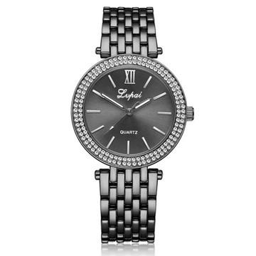 Ladies Simulated Diamond Double Row Bling Watch Black
