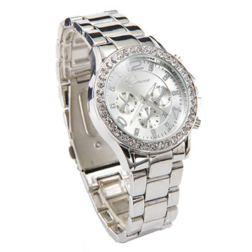 imulated Diamond Bezel Luxury Crystal Wristwatch