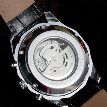 Men's kinetic Energy Black Leather Dial Skeleton Mechanical Wrist Watch