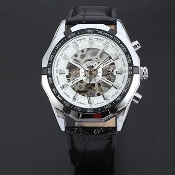 kinetic Energy Black Leather Dial Skeleton Mechanical Wrist Watc