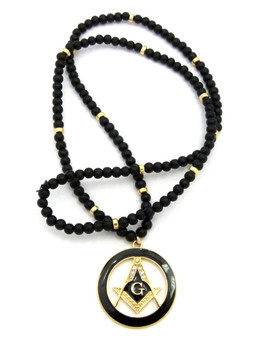 Black Enameled Compass Square Mason Pendant 14k Gold