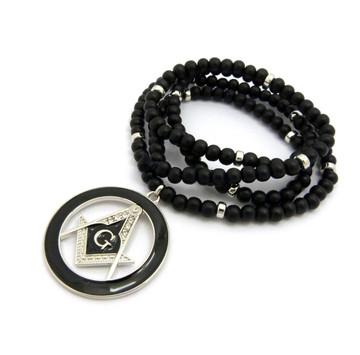 Black Enameled Compass Square Mason Pendant Silver