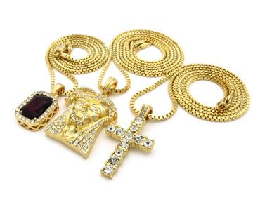 14k Gold Ice on Ice Jesus Cross Ruby Stone Pendant