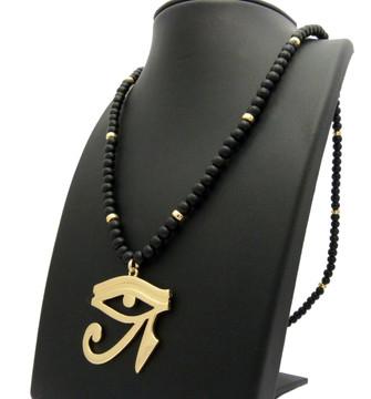 14k Gold Eye Of Ra African Beaded Chain Pendant