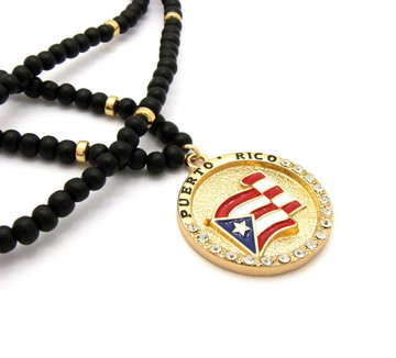 Iced Out Puerto Rico Flag Wooden Chain Pendant