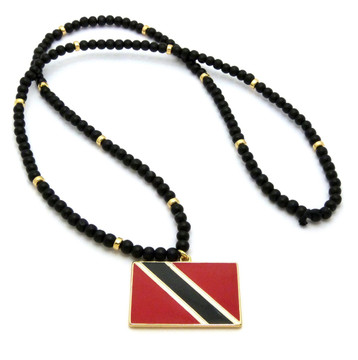 Flag of Trinidad and Tobago Wooden Chain Pendant