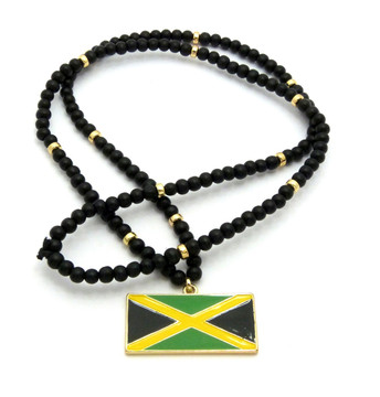 Flag of Jamaica Wooden Chain Pendant