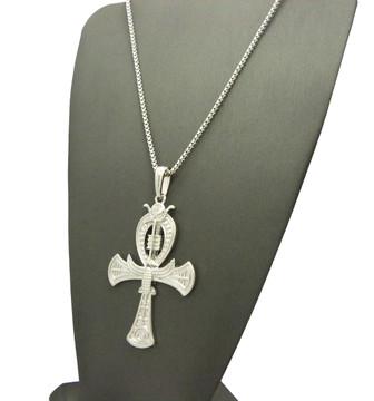 Falcon of Tutankhamun Ankh Cross Pendant Silver