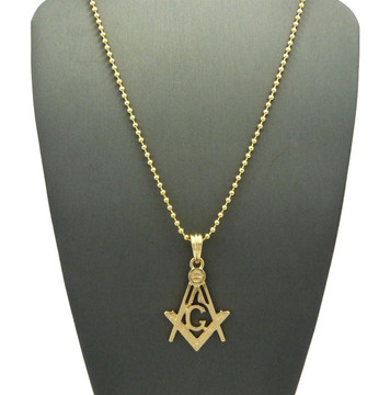 14k Gold Square and Compass Free Mason Pendant