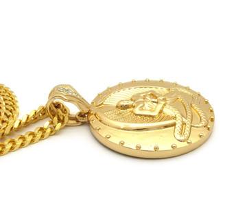 Angel of Death Euphanasia Cuban Link Pendant 14k Gold