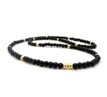 "6mm 30"" Black Glass Beaded Chain Necklace 14k Gold"