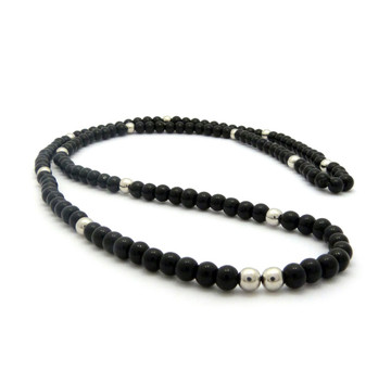"""6mm 30"""" Black Glass Beaded Chain Necklace Rhodium Silver"""