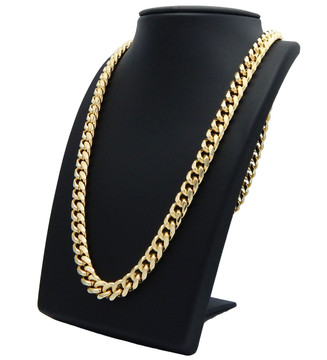 10mm 26 Inch Box Lock Miami Cuban Link Chain Necklace Gold