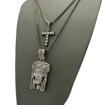 Black Simulated Diamond JESUS Cross Pendant Set