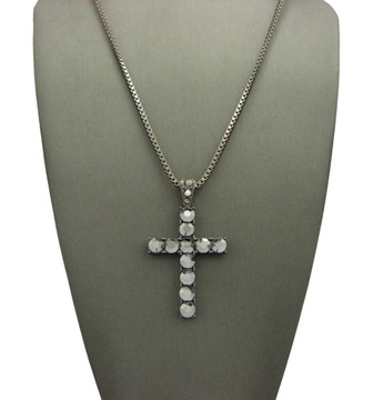 Black Hematite Full Stone Iced Out Cross Pendant