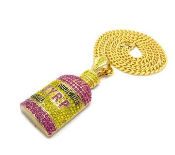 14k Gold Hip Hop Syrp Bottle Simulated Diamond Pendant Chain