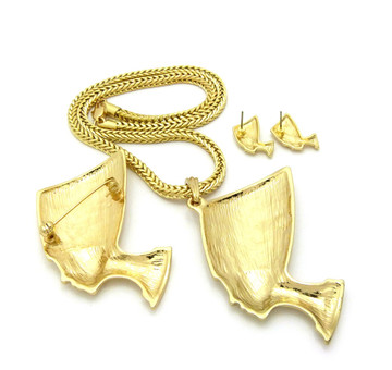 Queen Nefertiti Pendant Earrings Brooch Set Gold