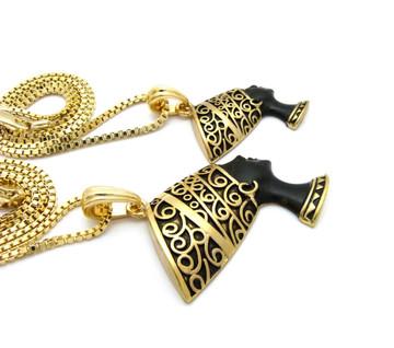 African Queen Nefertiti Pendant Chain Set Black