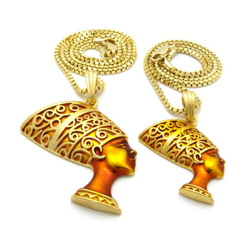 African Queen Nefertiti Pendant Chain Set Golden