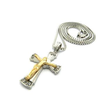 Simulated Diamond Beautiful Jesus Cross Pendant Two Tone