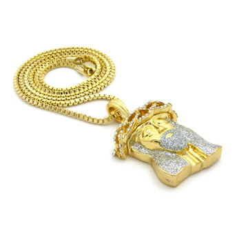 Crushed Iced 14k Gold Simulated Diamond Jesus Pendant Clear
